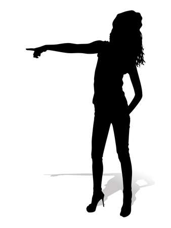 young girl: Young girl pointing, vector