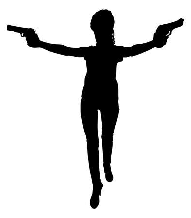 handguns: Girl with two handguns, vector Illustration