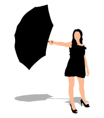 sexy umbrella: Girl with umbrella, vector
