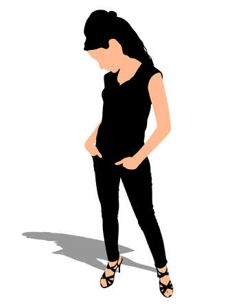 looking down: Sad young girl holding hands in pockets, standing and looking down, vector
