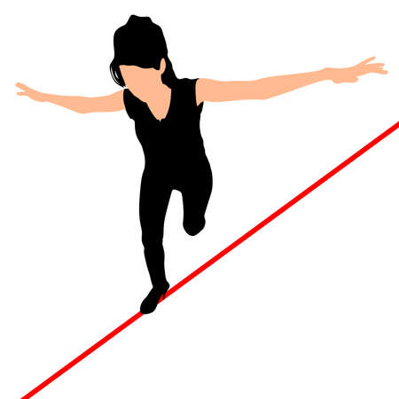 insure: Woman walks a high wire, vector
