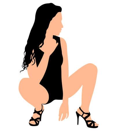 en cuclillas: Joven y bella mujer en cuclillas, vector Vectores