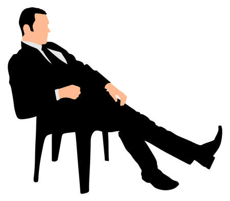 weary: Young businessman taking a break, vector