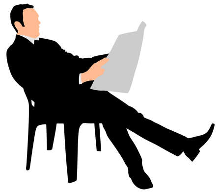news paper: Young businessman reading news paper sitting on chair, vector