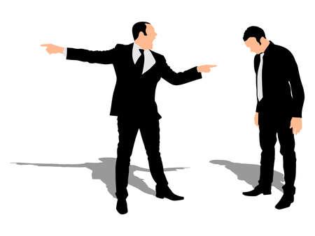Jesteś zwolniony! Zły biznesmen krzyczy na jego pracownika Ilustracje wektorowe