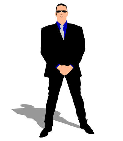 secret service: One secret service security bodyguard agent man, vector Illustration