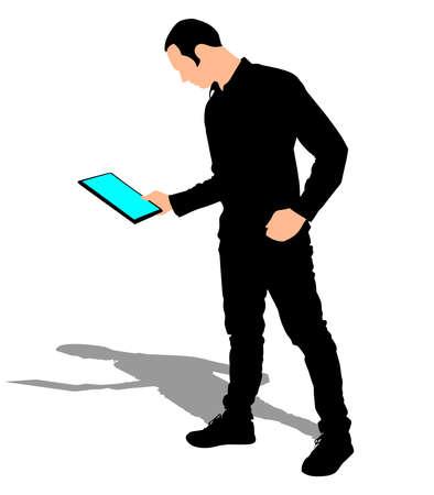 tablet vector: man holding touchscreen digital tablet, vector