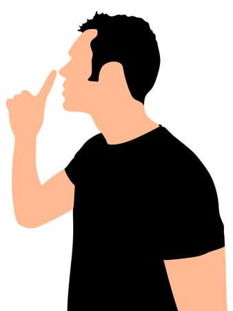 hush hush: Young man showing hush sign, sideview, vector
