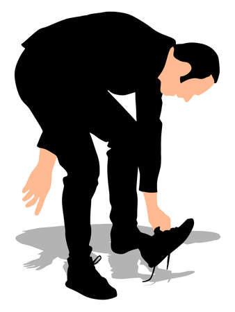 Young man putting on his shoes, vector