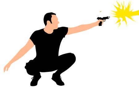 hombre disparando: hombre disparando la pistola, vector