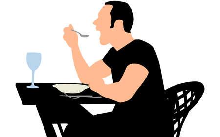main dishes: Man eating, vector