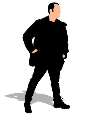 winter clothes: man in winter clothes with hands in pockets, vector