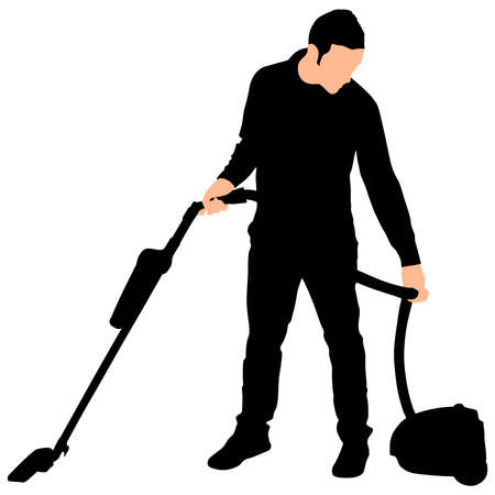 dirty carpet: Young man with vacuum cleaner, vector