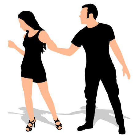 pulling: Boy yelling at his girlfriend and pulling her hand, vector