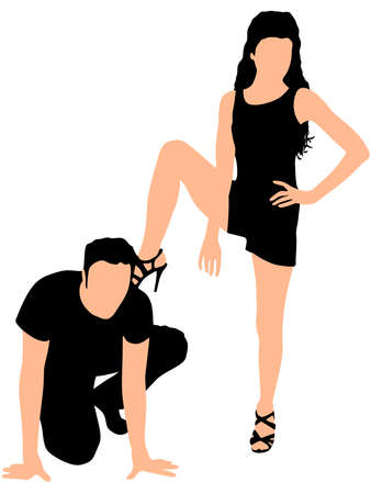 domination: man kneeling while his girlfriend keeps foot on back