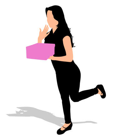 one girl only: Young happy excited woman opening gift box, vector