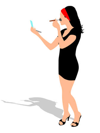 toner: girl standing and makeup using brush, vector Illustration