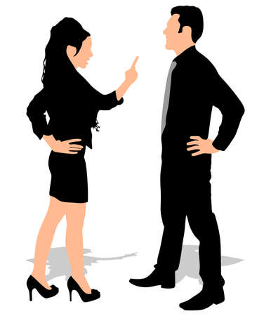 sexes: Business man and woman fight argue and talk about disagreement, vector Illustration