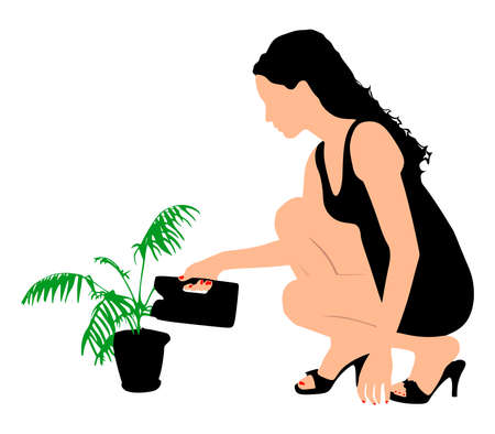 girl watering flowers, vector