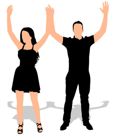 happy couple: Happy couple, hands up. Vector Illustration