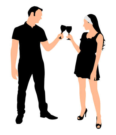 toasting: loving young couple toasting wine glasses, vector Illustration