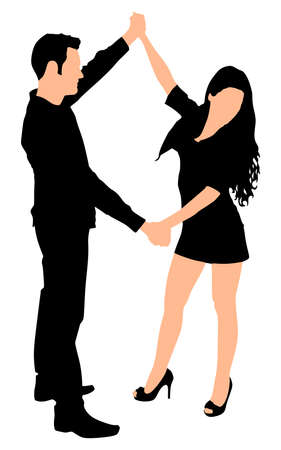 Young couple dancing, vector Illustration
