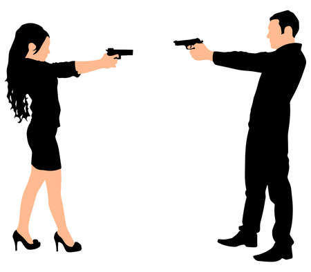 couple woman man in duel, vector Illustration