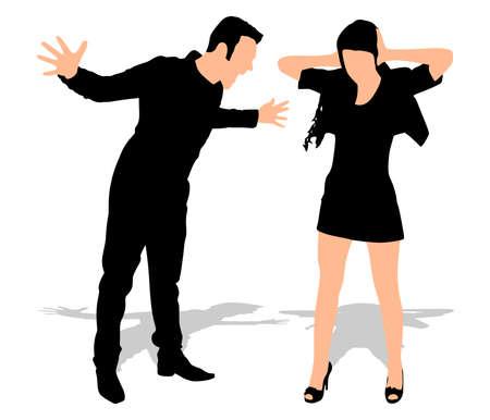 Boy gritando a su novia, vector Ilustración de vector