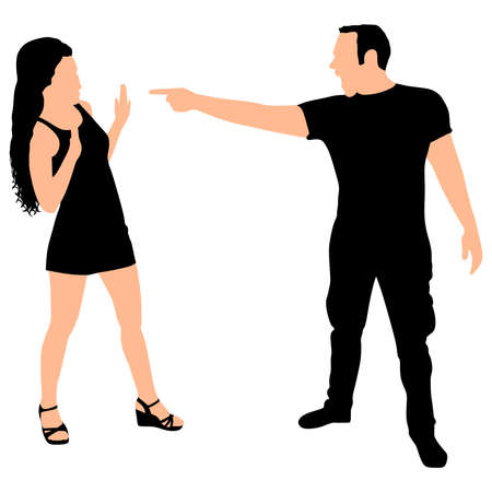 girlfriend: Boy yelling at his girlfriend, vector Illustration