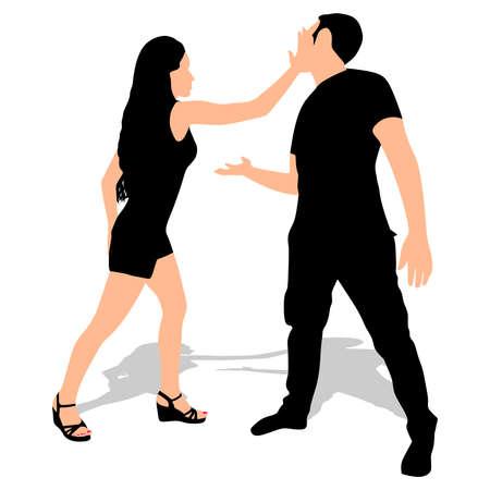 woman slapping a man, vector