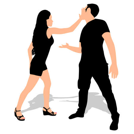 woman slapping a man, vector
