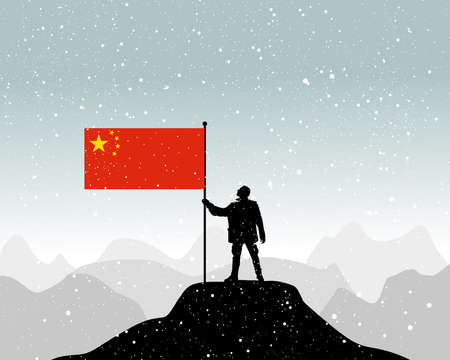 dictatorship: man holding a flag of China, vector Illustration