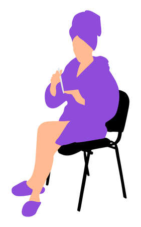 bathrobe: woman in bathrobe polishing her nails using nail file, vector