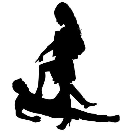 sexes: man lying on the floor while a woman steps on his chest, vector