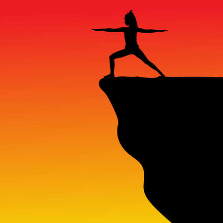 cliff edge: Young woman doing yoga on cliff, vector