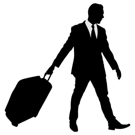 traveler: business traveler carrying a suitcase, vector Illustration