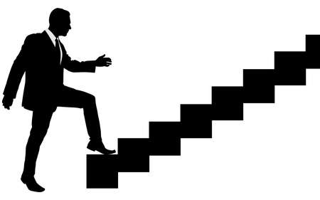 ascent: Concept, businessman on stair or steps, metaphor to success, climb, business, rise, achievement, growth, job, career, leadership, education, goal or future
