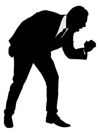 A silhouette of a businessman having a painful cough, vector