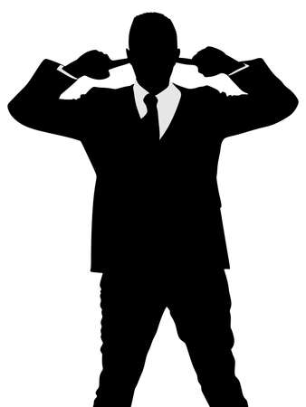 mobbing: businessman covering his ears, vector Illustration