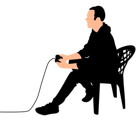genre: Young Man Playing Video Games, vector