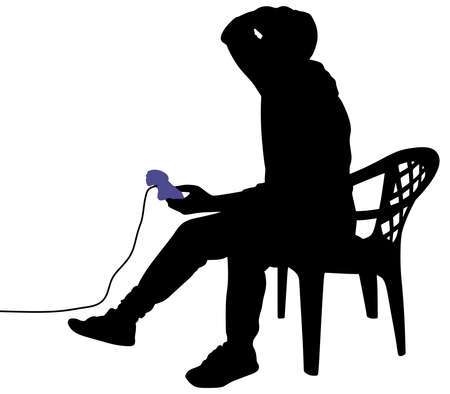 playing video games: Young Man Playing Video Games, vector