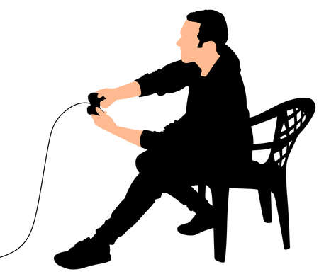Young Man Playing Video Games, vector