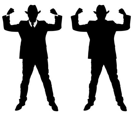 arms raised: Silhouette of a man in a suit and hat with arms raised to show strength and power, vector