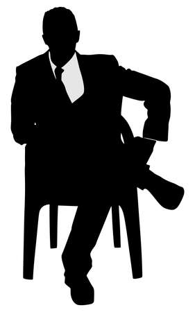 Silhouette of a man sitting in a modern armchair with one leg over his knee