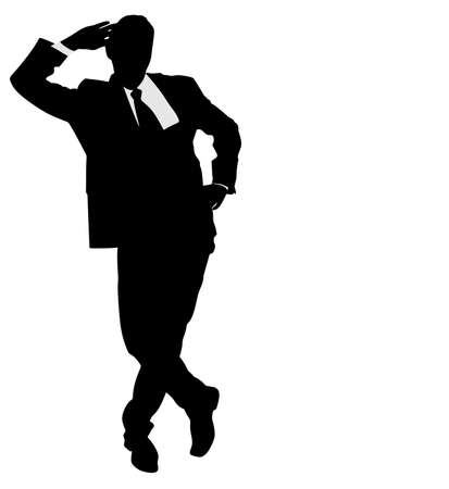 man looking out: Business man silhouette, vector