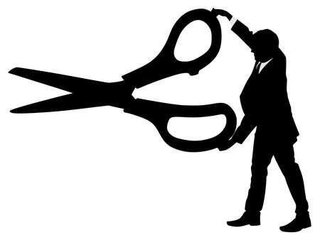 Silhouette eines Mannes mit einer großen Schere halten, Vektor