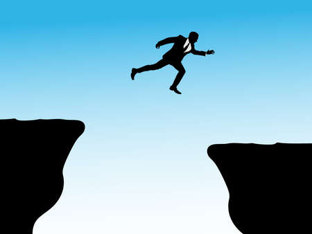 difficult decision: business man jumping over a cliff concept, vector