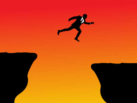 man jumping: business man jumping over a cliff concept, vector