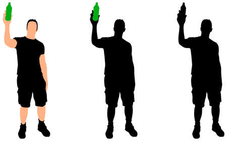 adult only: Casual young man drinking bottle of beer, vector