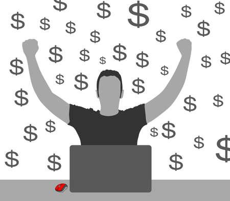 remuneraci�n: silueta ganancias de dinero del Internet del hombre, la econom�a se est� finanzas, la remuneraci�n de pago prosperidad transacci�n bancaria vector fortuna Vectores